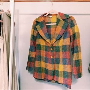 Vintage Plaid Pastel Colored Button-Up Blazer